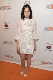 Leigh Lezark wore a dainty white lace dress to the ASPCA After Dark cocktail party.