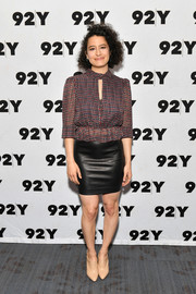 Ilana Glazer kept it demure up top in a printed peplum blouse while attending an event at 92nd Street Y.