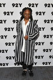 Whoopi Goldberg attended an event at 92nd Street Y wearing a black-and-white striped coat.
