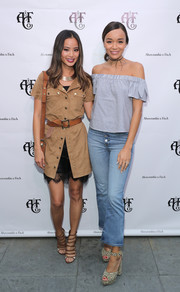 Ashley Madekwe was casual yet cute in a blue off-the-shoulder top during the Abercrombie & Fitch Summer Rooftop Party.