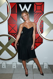 Erin Heatherton opted for a classic strapless LBD when she attended the W Amsterdam event.