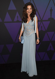 Michelle Yeoh donned a baby-blue Elie Saab gown with an embroidered bodice and bowed shoulders for the 2018 Governors Awards.