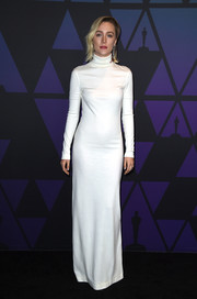 Saoirse Ronan was all about minimalist elegance in a white turtleneck gown by Calvin Klein at the 2018 Governors Awards.