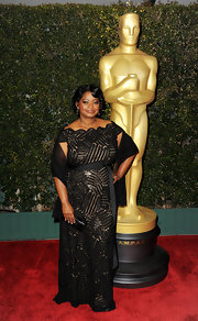 Octavia Spencer wore an off-the-shoulder black evening dress for the Governors Awards.
