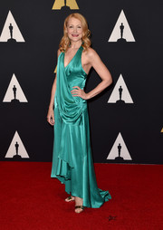 Patricia Clarkson channeled Old Hollywood in a draped jewel-toned halter gown during the Governors Awards.