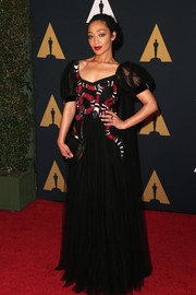 Ruth Negga rocked a snake-embellished black gown by Gucci at the Governors Awards.
