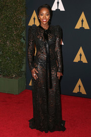 Aja Naomi King channeled Beyonce with this sheer black Marc Jacobs gown for her Governors Awards look.