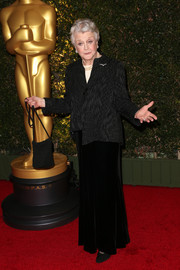 Angela Lansbury wore an asymmetrical black blazer featuring a subtle print to the Governors Awards.
