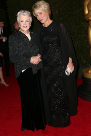 Emma Thompson looked regal in a beaded black evening dress during the Governors Awards.