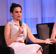 Jenny Slate accessorized her dress with a red skinny belt for the New York screening of 'Obvious Child.'