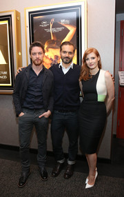 Jessica Chastain showed off her figure in a tight-fitting tricolor dress by Roksanda Ilincic during the Academy members screening of 'The Disappearance of Eleanor Rigby.'