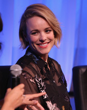 Rachel McAdams attended the official Academy screening of 'Southpaw' wearing her hair in a short bob.