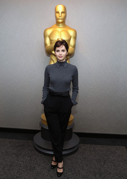 Felicity Jones looked flawless all the way down to her black Manolo Blahnik patent Mary Janes.