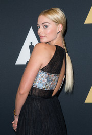 Margot Robbie sported a very cute center-parted braid at the Academy of Motion Picture Arts and Sciences' Scientific and Technical Awards ceremony.