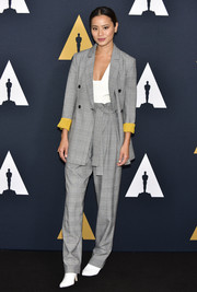 Jamie Chung looked smart in a gray glen plaid suit by BCBG Max Azria at the Academy Nicholl Fellowships on Screenwriting Awards.