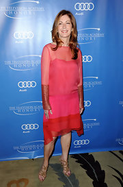 Dana Delany looked boho-glam in this pink chiffon drop-waist dress.