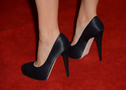 Julia Louis-Dreyfus kept it classic with a pair of black satin platform pumps at the Emmy Awards nominee reception.