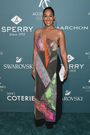 For coverage, Tracee Ellis Ross teamed her dress with black wide-leg pants.