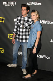 Sara Paxton showed off her glitzy ballet flats in ankle length pants.