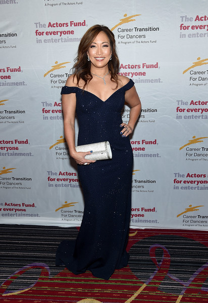 Carrie Ann Inaba sparkled like a starry night in her embellished navy off-the-shoulder gown at the Actors Fund's Career Transition for Dancers 2017 Jubilee Gala.