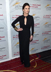 Catherine Zeta-Jones looked ageless in a black column dress with a keyhole cutout and a draped skirt at the Actors Fund's Career Transition for Dancers 2017 Jubilee Gala.