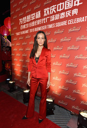 Maggie Q suited up in red for Budweiser's Toast to Dreams event.