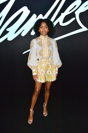 Yara Shahidi looked cute in a long-sleeve print blouse by Zimmermann at the 'Stan Lee's Alliances: A Trick of Light' event.