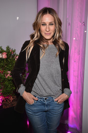 Sarah Jessica Parker was smart-casual in a brown velvet jacket layered over a gray sweatshirt at the #ActuallySheCan Short Film Series release.