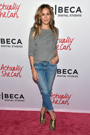 Sarah Jessica Parker attended the #ActuallySheCan Short Film Series release dressed down in a plain gray sweatshirt.