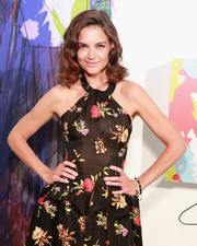 Katie Holmes accessorized with a beaded bracelet, among other bling, while hitting the shows during New York Fashion Week.