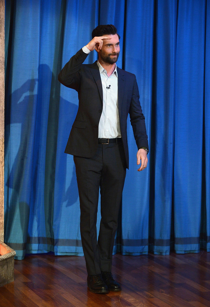 17521ca10fe Adam Levine traded in his rocker duds for a classic blue suit. Men s Suit