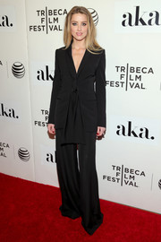 Amber Heard rocked a super-flared Stella McCartney pantsuit at the 'Adderall Diaries' premiere.