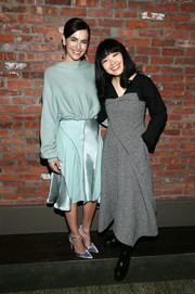 Camilla Belle layered a pastel-blue boatneck sweater over a matching dress, both by Adeam, for the brand's Fall 2018 show.