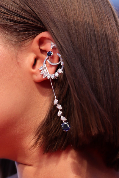 Adele Exarchopoulos Dangling Diamond Earrings [hair,ear,face,earrings,hairstyle,organ,chin,nose,cheek,body piercing,adele exarchopoulos,sala grande,red carpet,earrings detail,venice,italy,racer and the jailbird,venice film festival,screening]