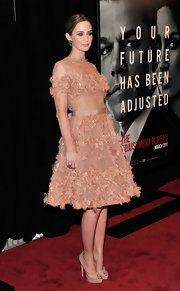 Emily Blunt dazzled at the premiere of 'The Adjustment Bureau' in nude Wagner platform peep toes.