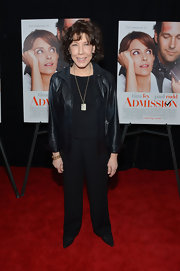 Lily Tomlin sported a cool leather jacket while attending the 'Admission' premiere in NYC.