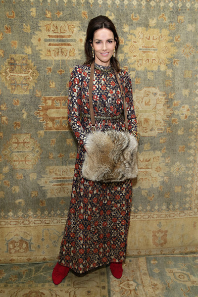Adriana Abascal Print Dress [clothing,maroon,brown,lady,fashion,beige,dress,textile,pattern,visual arts,tory burch,adriana abascal,actress,front row,583 park avenue,new york city,mercedes-benz fashion week,fashion show]