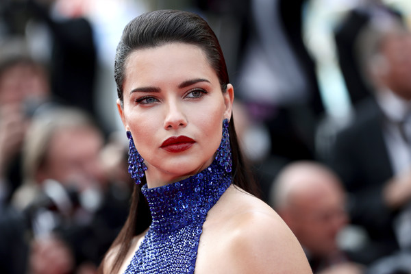 Adriana Lima Long Straight Cut [hair,face,lip,fashion,eyebrow,beauty,hairstyle,eye,human,street fashion,une lumiere,adriana lima,screening,une lumiere,roubaix,cannes,france,oh mercy,red carpet,the 72nd annual cannes film festival]