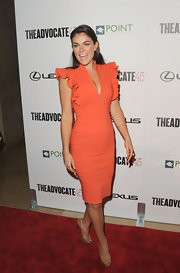 Serinda Swan was a doll at the Lexus event in this tangerine ruffled number.