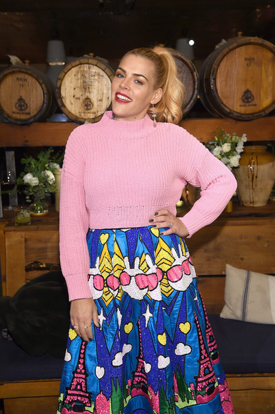 More Pics of Busy Philipps Turtleneck (5 of 15) - Tops Lookbook - StyleBistro [clothing,blue,pink,purple,fashion,dress,textile,pattern,magenta,top,aeriereal role models,aerie celebrates aeriereal role models,busy phillips,nyc,aerie]