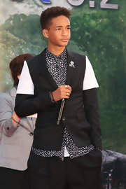 Jaden Smith showed his unusual sense of style with this black-and-white fitted jacket layered over a print button-down at the premiere of 'After Earth' in Japan.