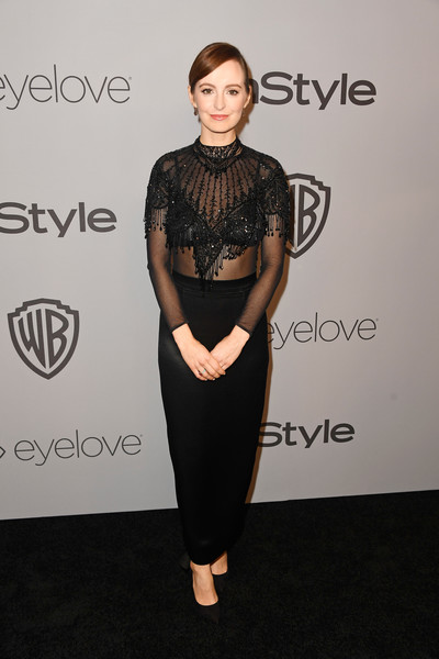 Ahna O'Reilly Sheer Top [clothing,dress,fashion,hairstyle,shoulder,carpet,neck,footwear,little black dress,joint,arrivals,ahna oreilly,beverly hills,california,the beverly hilton hotel,warner bros. pictures,instyle host,post-golden globes party]