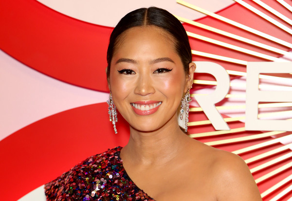 Aimee Song Ponytail [hair,facial expression,skin,beauty,hairstyle,smile,lip,long hair,happy,aimee song,revolve,revolveawards,second annual revolveawards,palms casino resort,las vegas,nevada]