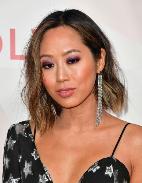 Aimee Song Jewel Tone Eyeshadow [hair,face,eyebrow,hairstyle,shoulder,lip,beauty,chin,long hair,blond,revolveawards - arrivals,aimee song,revolveawards,dream hollywood,hollywood,california]