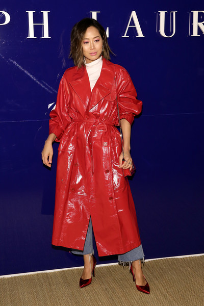 Aimee Song Leather Coat [the shows,clothing,dress,carpet,fashion,premiere,outerwear,red carpet,electric blue,trench coat,flooring,ralph lauren,aimee song,front row,new york city,new york fashion week]
