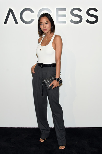 Aimee Song Slacks [clothing,white,waist,fashion,shoulder,fashion model,footwear,neck,trousers,jeans,access smartwatches,michael kors,aimee song,artbeam,new york city,google]