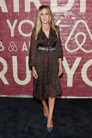 Sarah Jessica Parker kept it ladylike in a floral frock with a ruffle neckline at the Airbnb New York City Experiences launch.