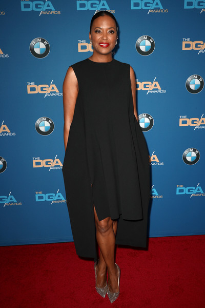 Aisha Tyler Evening Pumps [clothing,dress,red carpet,little black dress,cocktail dress,carpet,blue,cobalt blue,electric blue,premiere,arrivals,aisha tyler,beverly hills,california,the beverly hilton hotel,directors guild of america awards]
