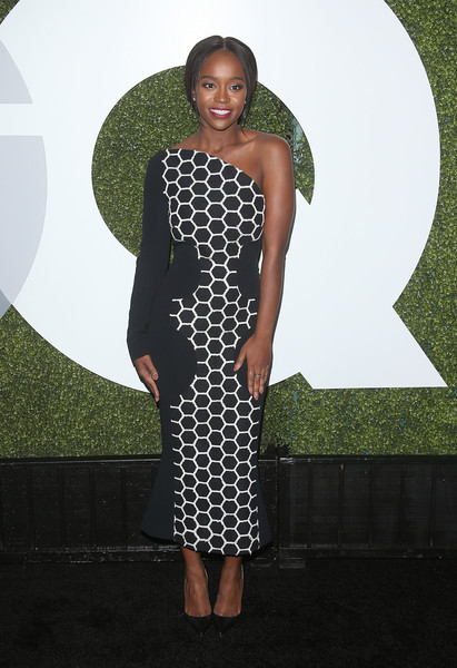 Aja Naomi King One Shoulder Dress [clothing,dress,shoulder,fashion,cocktail dress,pattern,long hair,style,flooring,day dress,arrivals,actress,gq men of the year party,aja naomi king,california,los angeles,chateau marmont,gq men of the year party]