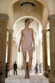 Barbara Fialho looked alluring in a semi-sheer pink sequin dress at the Alberta Ferretti show.